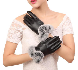 Free shipping Four Color Womens Winter Touchscreen PU Leather Gloves Thermal Lining Mittens 3SZ60071