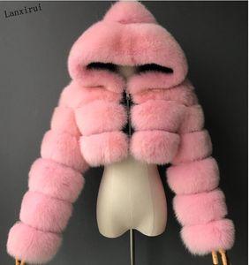 Alta qualità Furry ritagliata Faux Fur cappotti e giacche donne Fluffy Top Coat con cappuccio inverno rivestimento della pelliccia manteau femme T200905