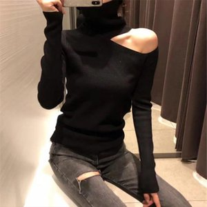 2020 Sexy Knitted Sweater Off Shoulder Pullovers Sweater for Women Long Sleeve Turtleneck Female Jumper Black White Clothing