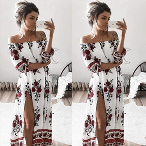 Summer Women Dresses Sexy Slash Neck Split Evening Party Beach Dress Floral Sundress Women Clothing designer clothes