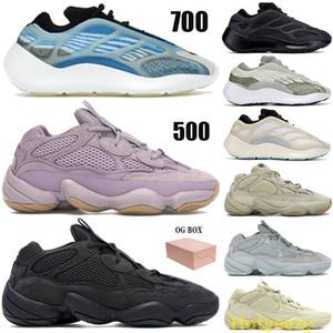 Kanye 700 500 Reflective Laufschuhe Männer Frauen Glow in th dunkel Trainer Azareth Alvah Azael Stein weich Vision Utility schwarz Sneakers Box