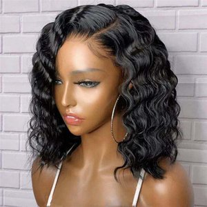 Lace Wigs Loose Wave Bob Wig Human Hair With Baby Side Part Brazilian Remy Pre Plucked Natural Hairline