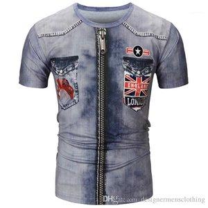 Версия для печати Мужские Tshirts лета O шеи с коротким рукавом Креативный Tops США Джинсы мужские Tees 3D Digital Jean