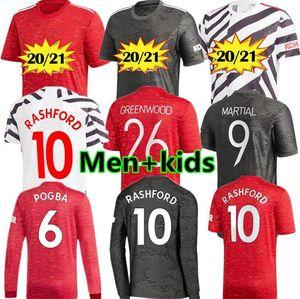 متحدون لاعب مانشستر 20 21 منزل الرجل لكرة القدم بالقميص B.FERNANDES RASHFORD MARTIAL 2020 قمصان كرة القدم للأطفال زي GREENWOOD VAN DE BEEK