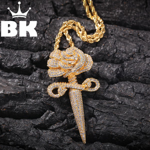 THE BLING KING Custom The roses Necklace Hip Hop Full Iced Out Cubic Zirconia gold sliver CZ Stone