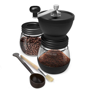 Manual Coffee Grinder With Ceramic Burrs, Hand Coffee Mill With Two Glass Jars Brush And Tablespoon Scoop