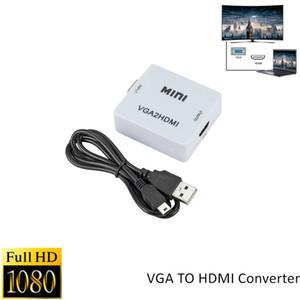 HDTV Projektörüne PC Laptop Ses ile HDMI Dönüştürücü 1080P VGA 2 HDMI Ses Adaptörü Bağlayıcı VGA2HDMI Mini VGA