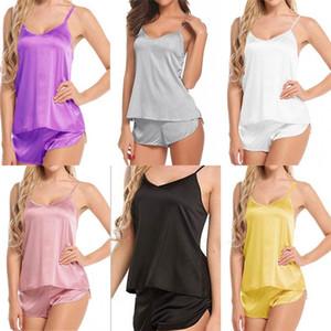 Pantalones cortos de pijama de seda chalecos Kits Plus Tamaño Ropa pijama camisola piel de las mujeres vestidos de Pijama Plancha juego de la señora de la tarde hembras C2 7 5wya