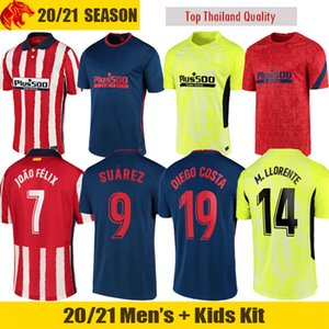 20 21 Atlético Madrid Camisas de futebol JOAO FELIX 2020 2021 SAUL Camisetas de futebol SUAREZ Mens Jersey Crianças Kit DIEGO COSTA Camisa de futebol