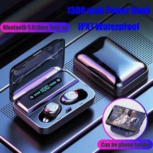 Led 디스플레이와 F9 -5 TWS 헤드폰 블루투스 V5 0.0 무선 이어폰 미니 스마트 감동 이어 버드 1200MAH 전원 은행 헤드셋과 마이크