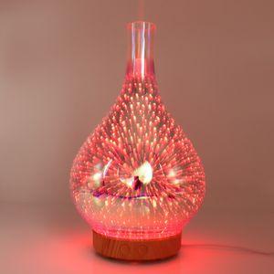 Koku Lambaları 3D Fireworks Cam Nemlendirici LED Renkli Gece Lambası Aromaterapi Makinesi Ev Uçucu Yağ Difüzör GGA3654-1