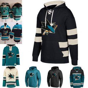Blank San Jose Sharks 65 Erik Karlsson los hombres de encargo Jersey con capucha auténtica sudaderas con capucha de los jerseys con capucha de invierno
