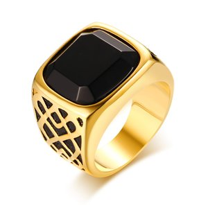Luxury black gold color color dubai style big stone wedding rings for men
