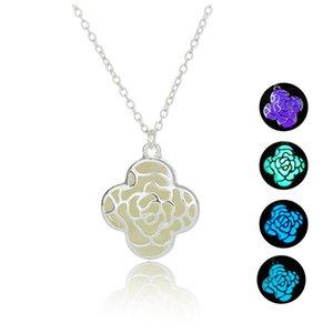 Женщины ожерелья цветка Подвески Светящиеся бисера ожерелье Полые пылает в Dark Light Женский Beads Pendant Оптовые ювелирные изделия Модные аксессуары