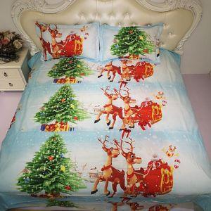 BEST.WENSD Santa Claus  christmas tree Bedding set American style christmas duvet california king bed- king size comforter set