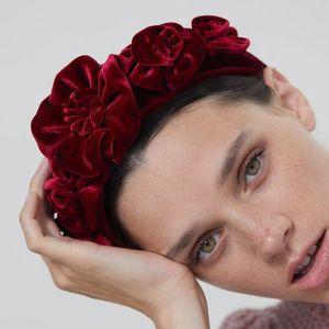 3D Rose flores de terciopelo Mujeres Las vendas Rojo Balack 2021 Barroco Moda tocados de boda Novias Accesorios para el cabello Coronas Tiara AL6962
