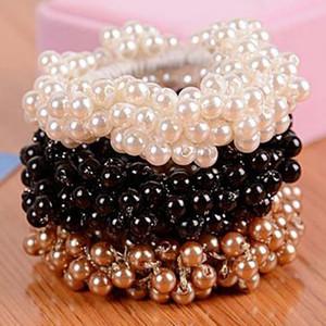 Корейский Элегантный Scrunchies женщина моды Имитация Pearl Beads волос Веревка Gum Резиновые ленты Ponytail Держатели Аксессуары для волос