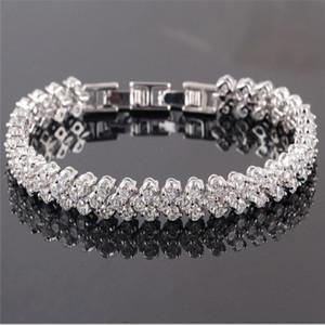 Brillanti di lusso di cristallo Bracciali 925 fascini d'argento gioielli originali braccialetto di diamanti romana Tennis Bracciale