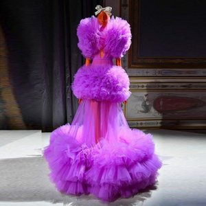 2020 Purple Ruched Tulle See Through Prom Dresses Sexy Deep V Neck Puffy Sleeve Ruffles Evening Gowns Photoshoot Girls Formal Wear