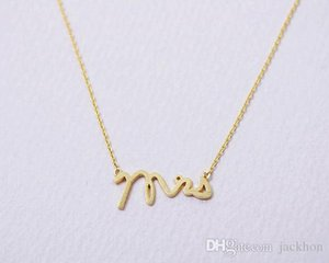 30PCS- N111 Gold Silver Simple Dainty Mrs Necklace Small Stamped Word Initial Necklace Simple Love Alphabet Letter Necklaces