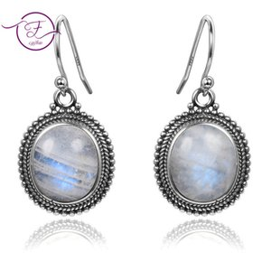 Jewelry 925 sterling silver pendant earrings 10X12 large oval natural moonstone women fashion wedding party wholesale 200923