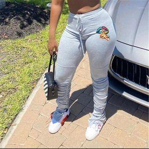 Beiläufige Hose Designer Frauen Neue Midder Taillen-dünnen Drawstring lange Hosen Frauen Farbige Lippen dünne Hosen Fashion Trend Plissee Split