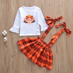 2021 Neue Babykleidung Frühling Herbst Kinder Kleidung Nette Rüschen Manschette T-shirt + Hosenträger Röcke + Bogen Stirnbänder 3 stücke Sets Outfits Mädchen Kleidung