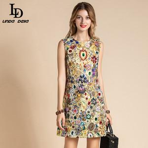 LD LINDA DELLA Mode piste robe d'été Femmes manches magnifique cristal perles Vintage Mini Robes courtes Robes de