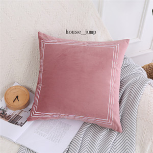 Cushion Cover Decorative Pillow Case Modern Stripe Embroidered Cute Pink Soft Velvet Coussin Sofa Chair Decor Pillow