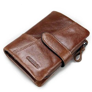Men's Wallet Leather Activity Zipper Buckle Stitching Clutch