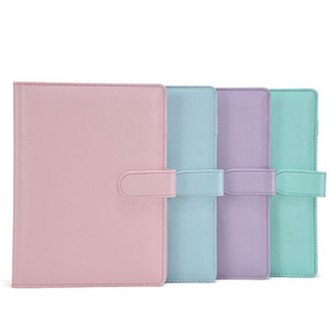 A6 PU Leather Notebook Binder Bundle 6 Ring Binder Solid Color Planner Office School Supplies A11