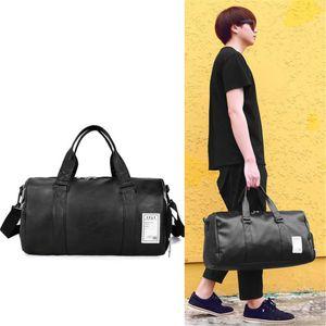 Travel Bag Black Large Capacity Luggage Duffel Totes Handbag Leather Shoulder Bag Crossbody PU Mens Fitness Storage Package