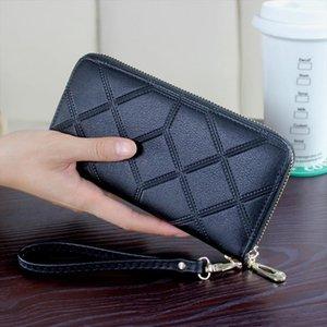 DORANMI cuir Womens Wallet Purse 2019 géométrique Sacs à main Wristlet long argent sac dames Porte-monnaie Porte-cartes d'identité NPJ002