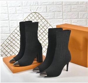 2020euro 35-42 sexy pointed womens shoes autumn winter Knitted elastic boots Designer lady High-heeled shoes Martin boots luxury socks boots