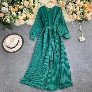 Womens Spring and Autumn Jumpsuit New Solid Color Round Neck Long-sleeved Pleated Wide-leg Pants Lace Up Thin Jumpsuit LL061
