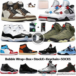 Com Box 1 sem medo 1s Banned Cactus Jack que o 4S Mens tênis de basquete 11 11s Concord Bred Travis Scotts 6 Dener Esporte Sneakers
