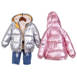 2020 겨울 어린이 컬러 골드 은빛 공간 스타일 아이들을위한 따뜻한 겉옷 2-9Y 두꺼운 자켓 소년 C0924