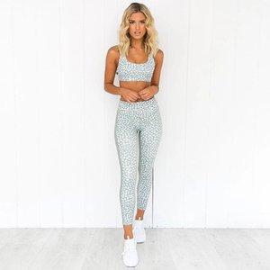 Yoga GYM Dot Printing Set Sportswear Tank Tops High Waist BuLifting Squat Proof Legging Sport Pant Workout Suit