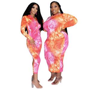 Femmes Skinny Hip Pack de Robe Plus Size manches longues encolure ras du cou Bodycon Robes Famale Vêtements décontractés