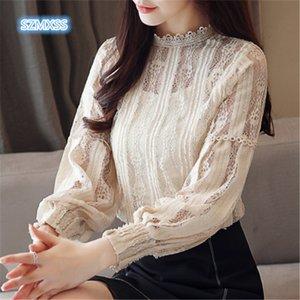 SZMXSS Seksi beyaz dantel çiçek bluz gömlek Hollow dışarı uzun kollu mizaç başında şeffaf bluz blusas Kadınlar örgü