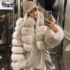 BFFUR Fondo Real Fox abrigos de pieles de las mujeres 2020 manera del invierno entero natural de la piel genuina piel de zorro chaquetas con cuello de piel Abrigos CX200825