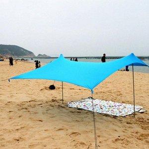 Playa Parasol Familia con la bolsa de arena de hierro polacos plegable portátil de alta estiramiento Yard tienda de campaña al aire libre Pesca Cabaña Y4du #