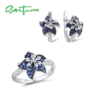 SANTUZZA Silver Jewelry Set For Woman Authentic 925 Sterling Silver Blue Star Flower White CZ Ring Earrings Set Fashion Jewelry C0927