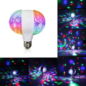 Disco Ball Lamps, 6W E27 RGB Rotating Light, LED Multicolor Strobe Bulb, Cool Crystal Stage Light Decor for Holiday Birthday Halloween