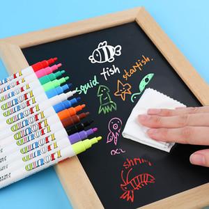 12шт / комплект 3мм Liquid Chalk Pen Маркер стекло Blackboard наклейка Liquid Ink Pen Используется на Классной доску Window White