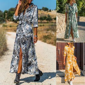 Кнопка Женщина с длинным рукавом платье макси отворот шея ремень Плов дерева Open Front Повседневные платья