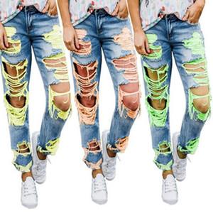 Womens Jeans Verão New rasgado Sexy Magro Calças moda casual calça jeans confortável Médio cintura Pants perna reta