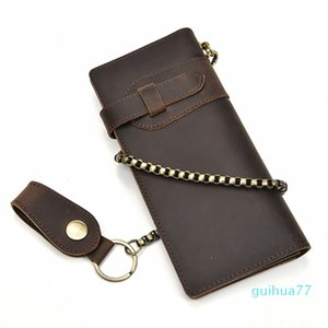 Designer-Mens Fashion Leather Long Wallet Retro Solid Business Chain Waist Clutch Bag Male Cheap Purse Zipper