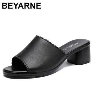 BEYARNE Kadınlar Terlik 2020 Bayanlar Yaz Terlik Ayakkabı Kadınlar Yüksek Topuklar Moda Yaz Gerçek Deri Ayakkabı