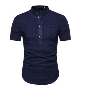 Camisas de tela escocesa de los hombres collar de pie ocasional de la camisa de la blusa del algodón del verano de los hombres suéter Social de lino de manga corta Nuevo
